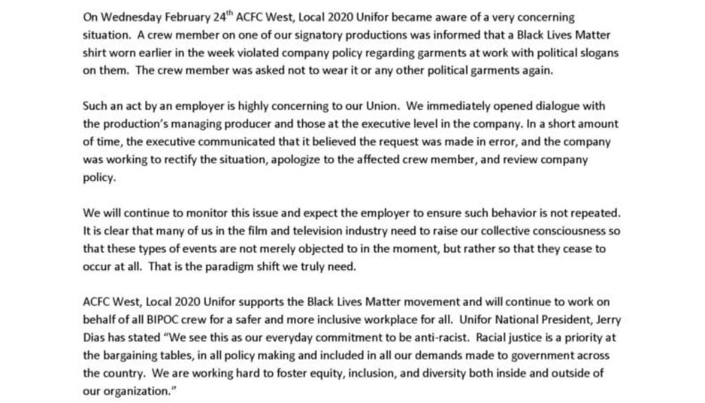 ACFC Statement on BLM Clothing Incident